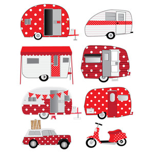 red polka dot camper stickers