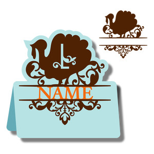 monogram place card & nameplate - turkey l