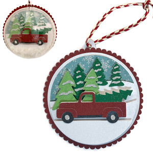 winter truck scene ornament