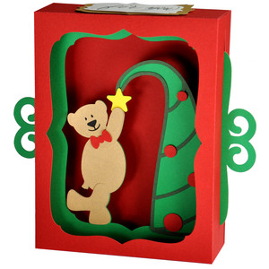 teddy bear christmas tree gift card decoration