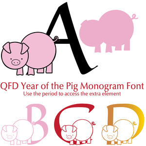 qfd year of the pig monogram font