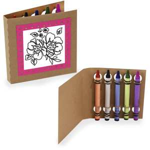 crayon holding square coloring cards - pretty florals