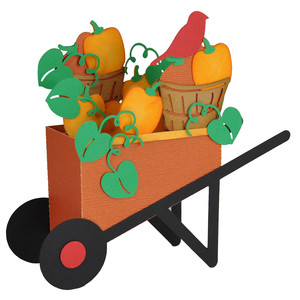 3d pumpkin wheelbarrow card in a box