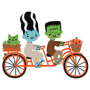 frankenstein monster family biking