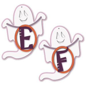 ghost tag e or f letter card