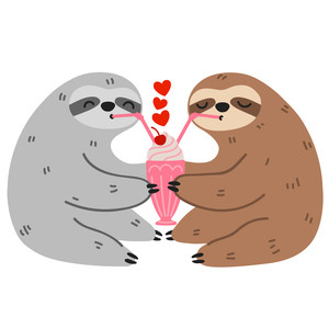 sloths sharing milkshake