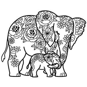 mother elephant and baby floral mandala