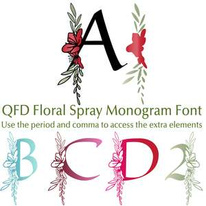 qfd floral spray monogram font