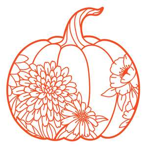 pumpkin silhouette with flowers