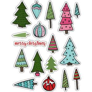 ml christmas evergreen trees stickers