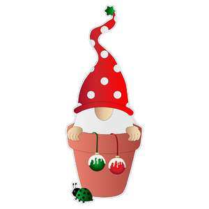 christmas gnome in a flower pot