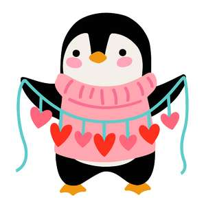 penguin with string of hearts