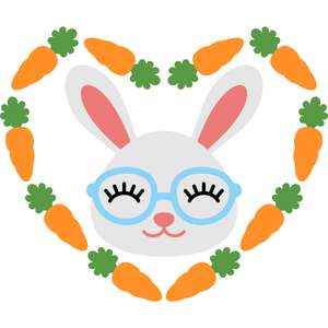 bunny with carrots heart