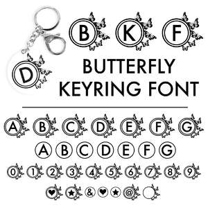 butterfly keyring font