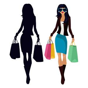 shopping girl and silhouette