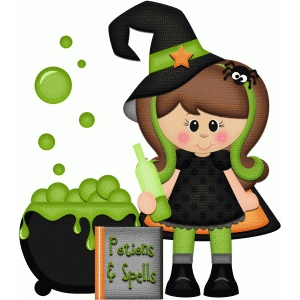 witch with cauldron halloween