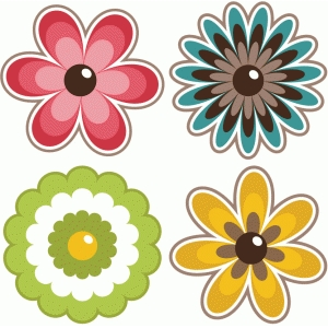 set of 4 layered flowers