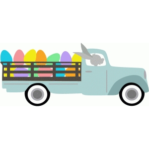 bunny with truck of eggs