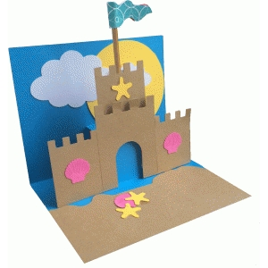 sandcastle pop up card