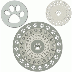 dog paw border on nested circles