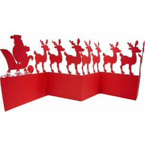 santa and reindeer fold out decor
