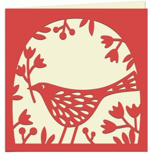 bird with flowers papercut 5x5 card