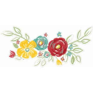 floral painted border yellow red blue