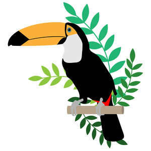 toucan with leaves