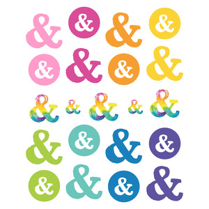 inky ampersand sticker set