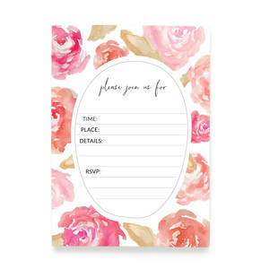 5x7 flat, floral printable party invitation