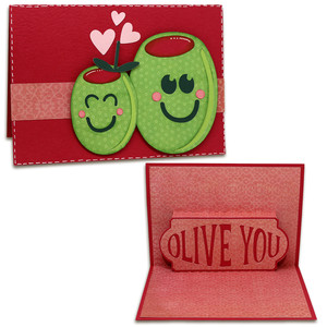 olive you pop-up card