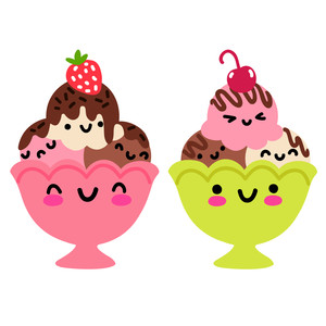 kawaii ice cream sundae bowls