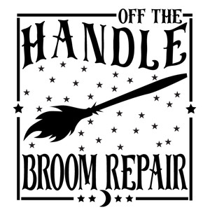 off handle broom repair sign