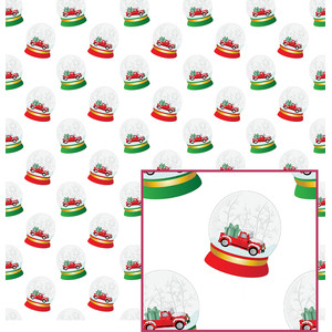 red truck snow globe pattern