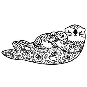 mother sea otter and baby floral mandala