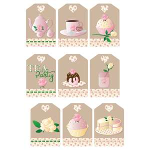 pink & rosy tea party gift tags
