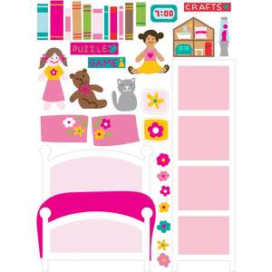 dollhouse stickers flower bedroom 1