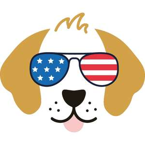 golden retriever dog with american flag sunglasses