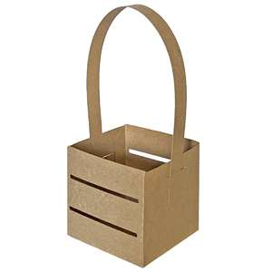 square crate slat box with handle