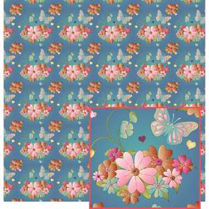 soft fall flowers pattern on blue