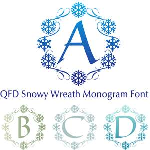 qfd snowy wreath monogram font
