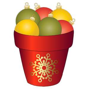 christmas ornaments in a flower pot