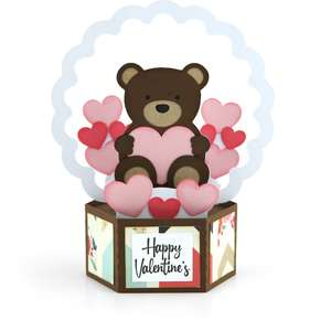 hexagon pop up card valentine bear