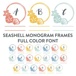 seashell monogram frames full color font