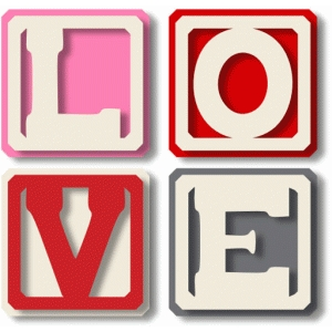'love' letters blocks