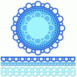 12 inch doily border set open scallop edge