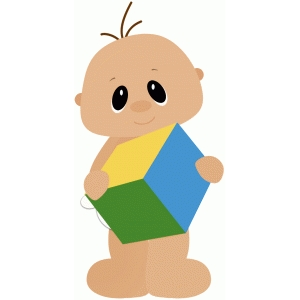 baby boy holding block toy
