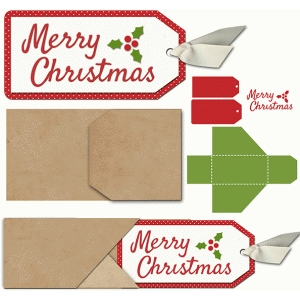 slide out merry christmas tag and envelope