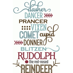 reindeer & rudolph word list