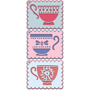 set of layered tea cup gift tags